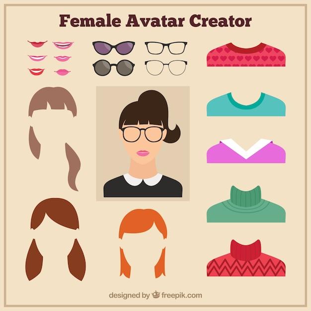 Female Avatar Creator Vector Premium Download
