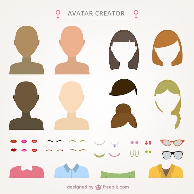 Female Avatar Creator Vector Free Download