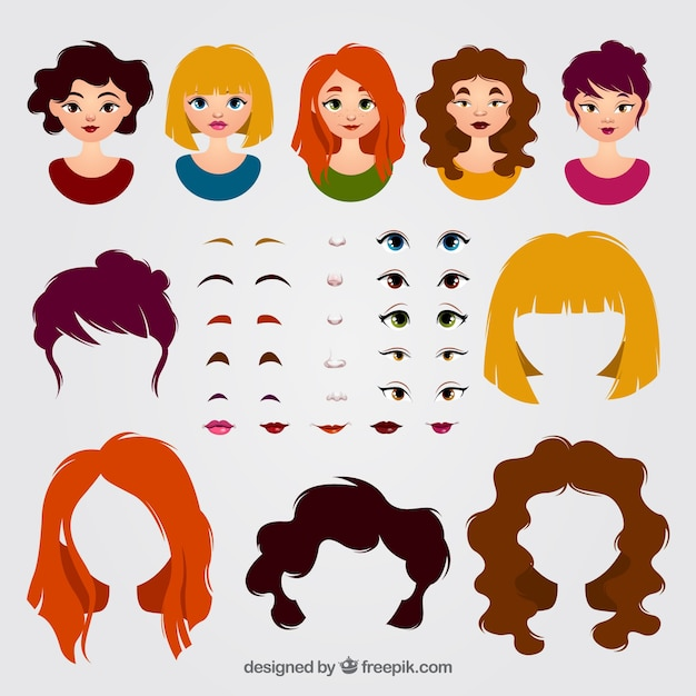 Female avatars and pack of elements Free Vector
