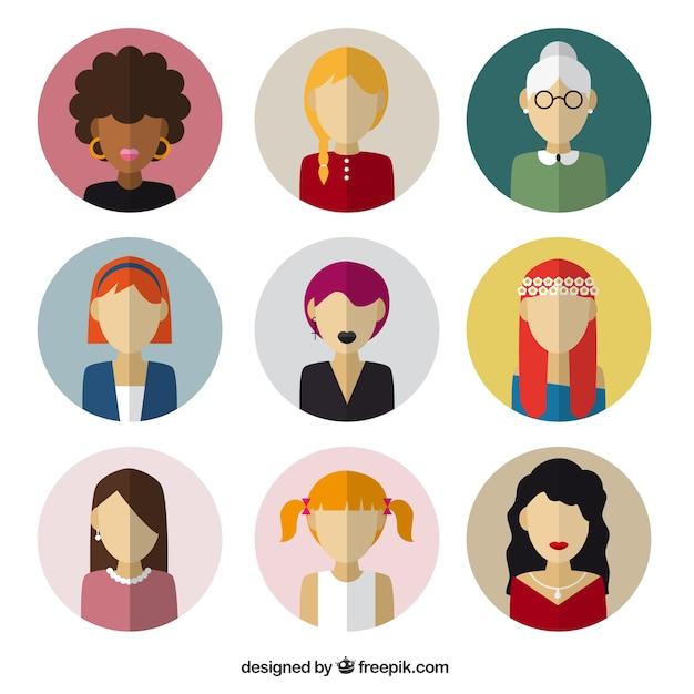 Female avatars in flat design Free Vector