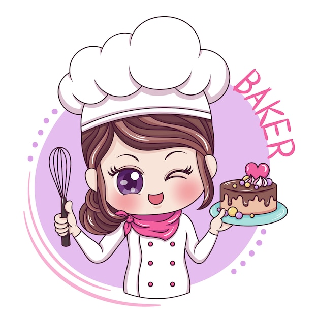 Female baker Premium Vector