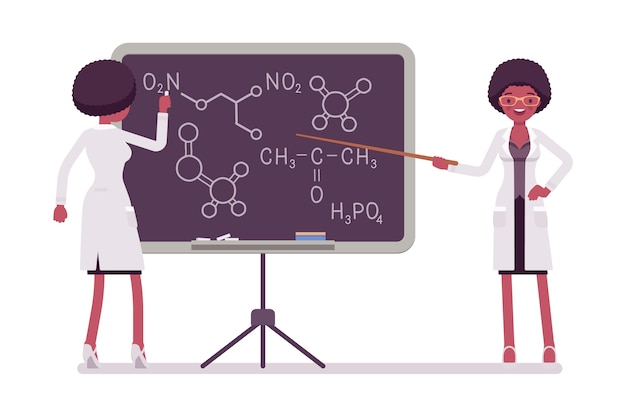 Female black scientist at blackboard. expert of physical, natural laboratory in white coat teaching. science and technology concept.   style cartoon illustration  on white background Premium Vector