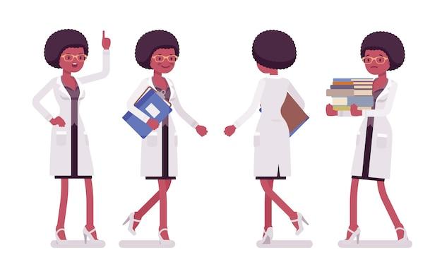 Женский черный ученый ходьба. эксперт физической, натуральной лаборатории в белом халате. наука, концепция технологии. иллюстрации шаржа стиля на белом фоне, спереди, вид сзади Premium векторы