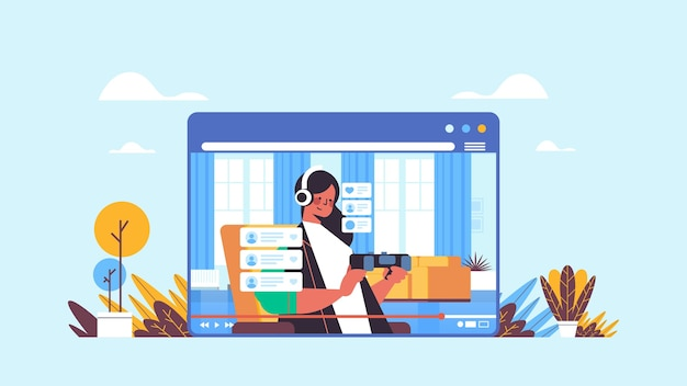 女性ブロガー記録ゲームプロセスオンラインブログライブストリーミングブログコンセプトガールウェブブラウザウィンドウでビデオゲームをプレイリビングルームインテリア水平方向の肖像画 Premiumベクター