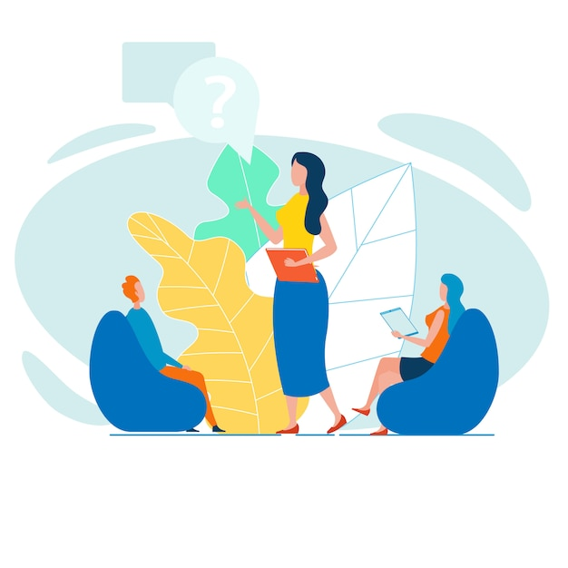 Female boss making report or instructing trainees Premium Vector
