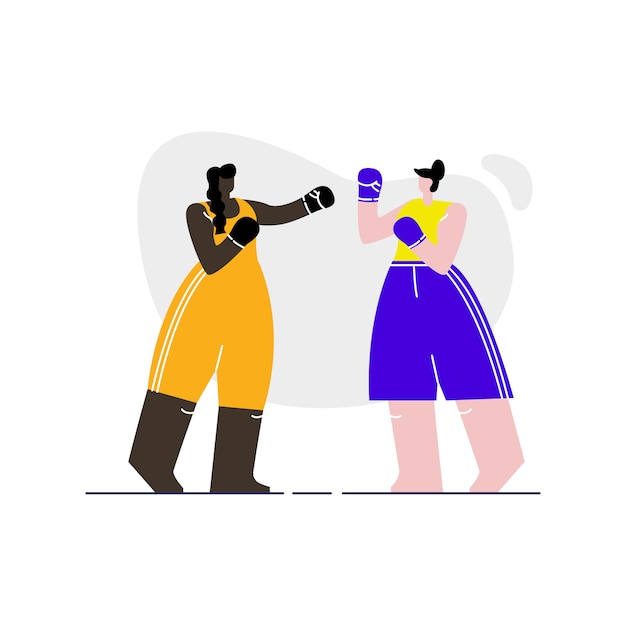 Female boxers sparring flat vector illustration Premium Vector