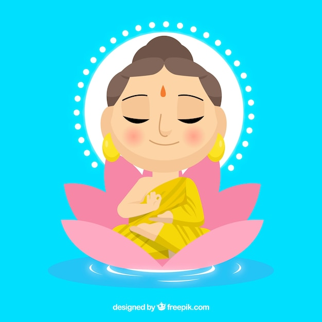 Female budha with flat design