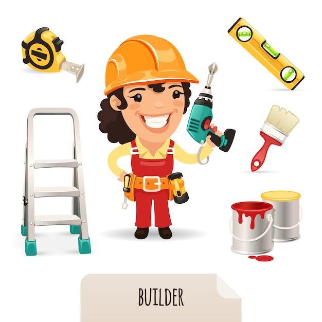 Female builders icons set Premium Vector