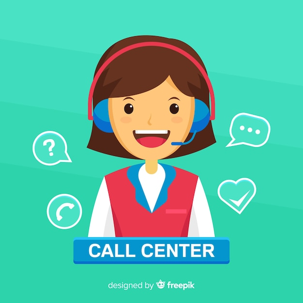 Female call center agent concept Free Vector