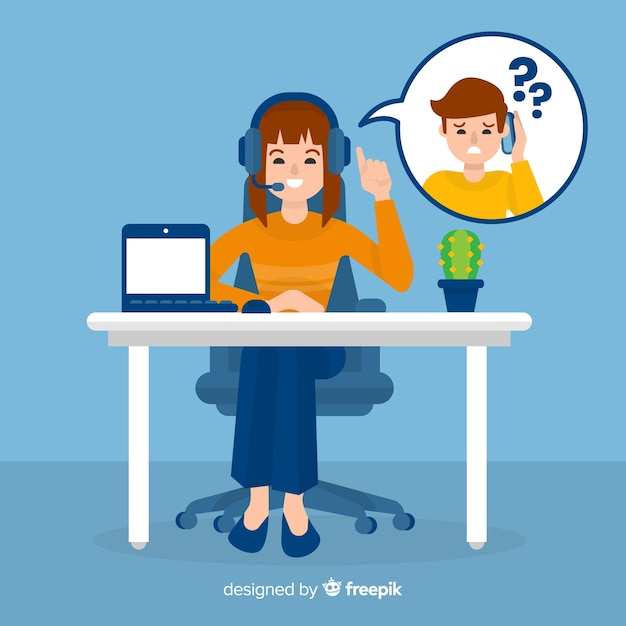 Female call center agent Free Vector