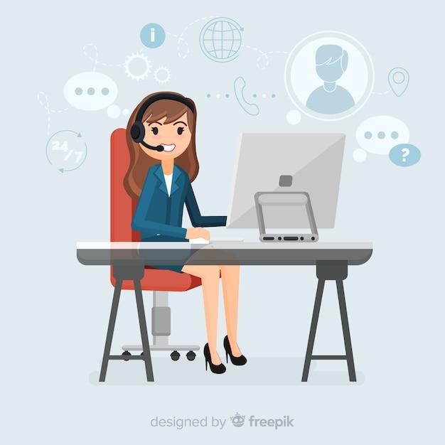 Female call center agent Free Vector