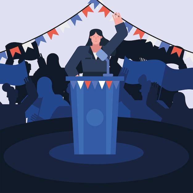 スピーチ選挙日ベクトルイラストデザインを与える女性候補者 Premiumベクター