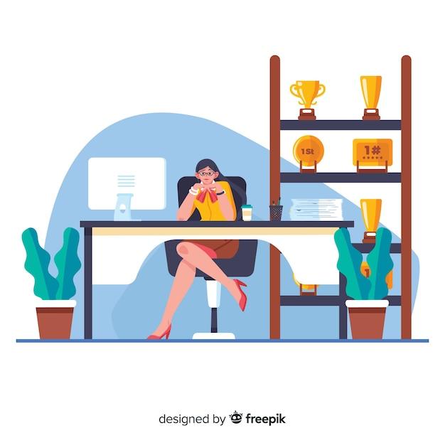Female cartoon worker sitting at desk Free Vector