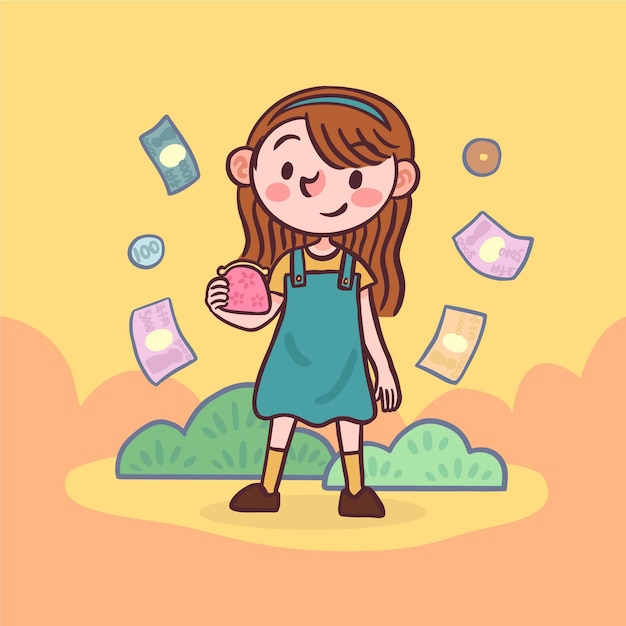Female character holding a bag of coins Free Vector