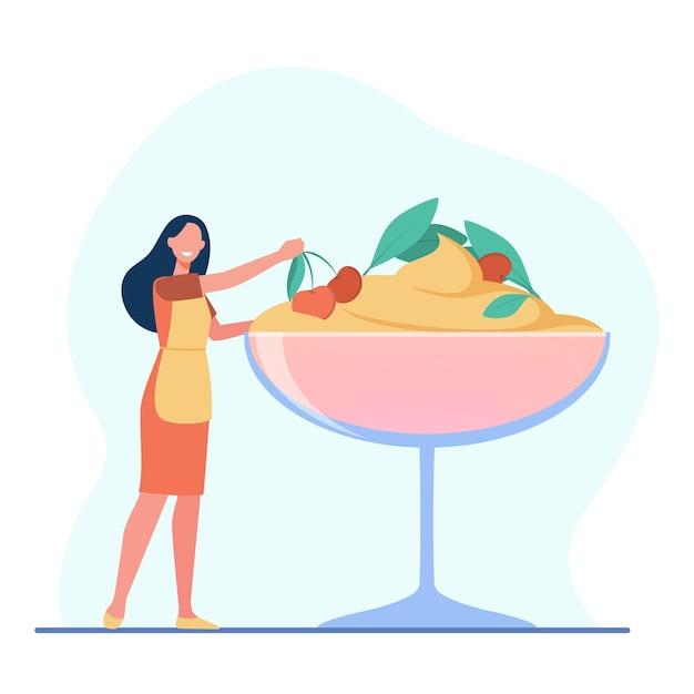 Женский шеф-повар готовит десерт. мороженое с ягодами, тирамису, стеклянная миска. иллюстрации шаржа Бесплатные векторы