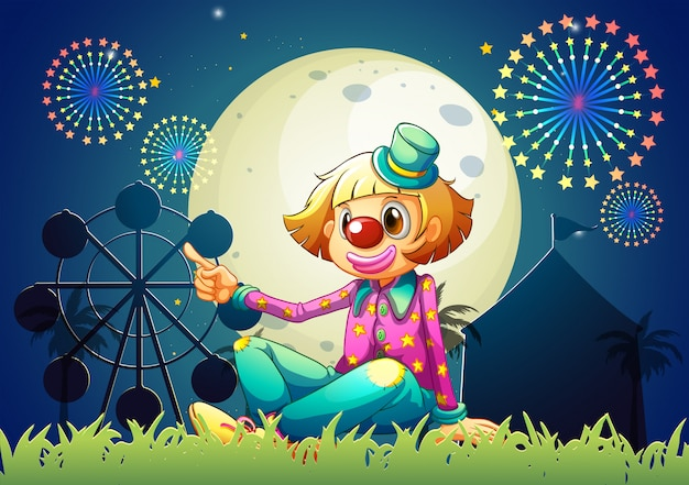 A female clown at the carnival Free Vector