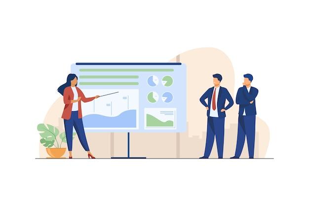 Allenatore femminile che spiega le statistiche agli uomini d'affari. grafico, azienda, analisi piatta illustrazione vettoriale. affari e marketing Vettore gratuito