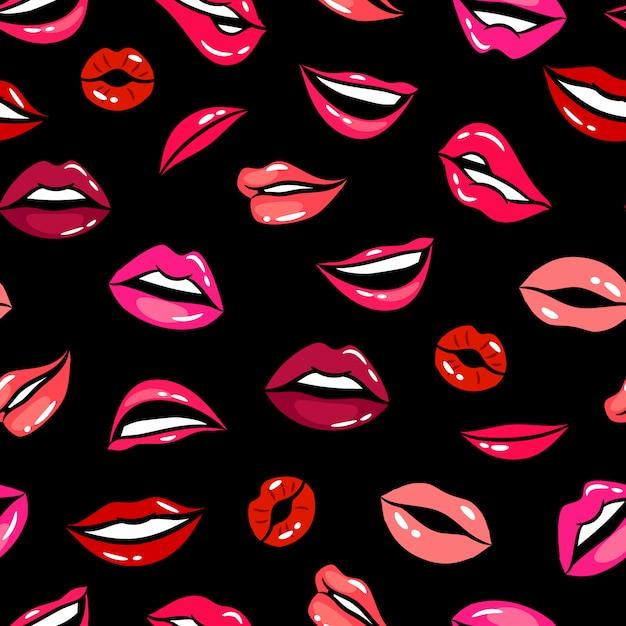 Female comic lips seamless pattern vector template Premium Vector