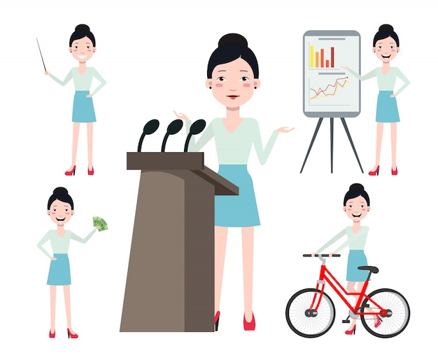 Female conference speaker character set with different poses Free Vector