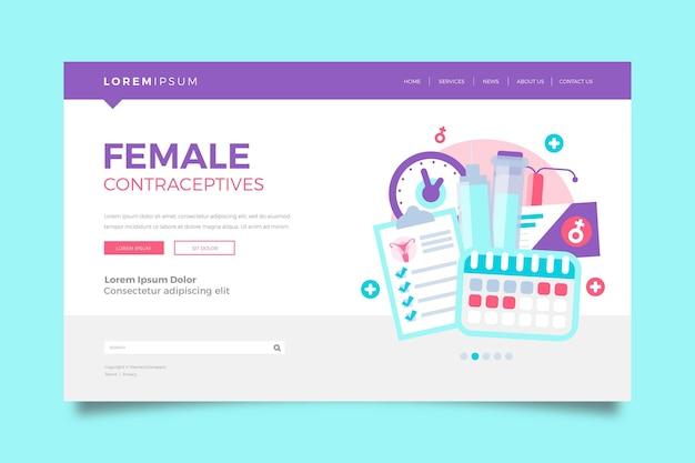 女性用避妊薬-ランディングページ 無料ベクター