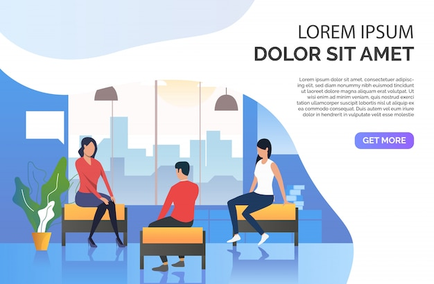 Female counselor at session with patients Free Vector