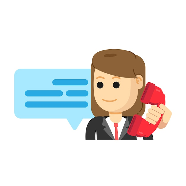 Female customer services agent, making phone call Premium Vector