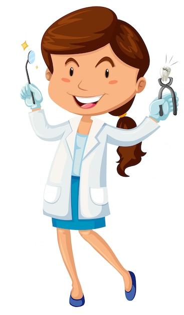 Female dentist with equipment Vector | Premium Download