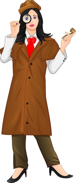 Женский детектив с увеличительным стеклом Premium векторы
