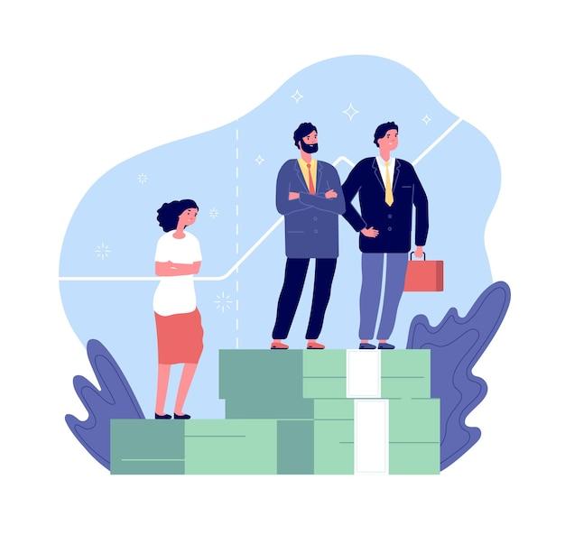 女性差別。男女格差、男性と女性には不平等の権利があります。賃金不公平な比較ベクトルの概念における性差別。 Premiumベクター