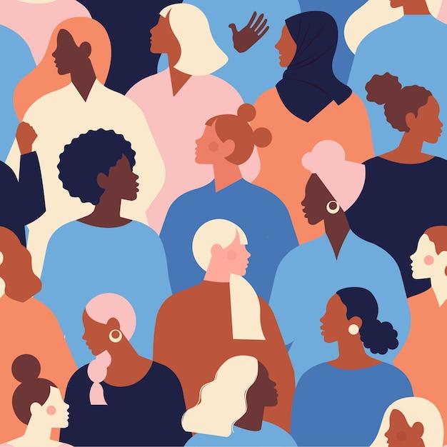 Женские разнообразные лица различной этнической принадлежности бесшовные модели. шаблон движения по расширению возможностей женщин. международный женский день . Premium векторы