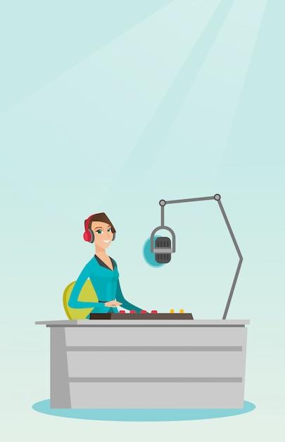 Female dj working on the radio vector illustration Premium Vector