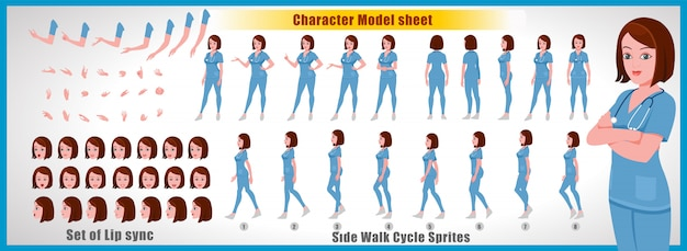 Female doctor  character model sheet with walk cycle animations and lip syncing Premium Vector