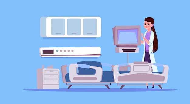 Female doctor check hospital ward equipment Premium Vector