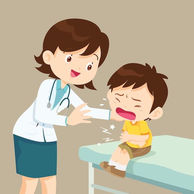 Женский доктор, утешительный ее плачущий мальчик Premium векторы