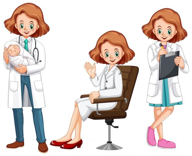 Female doctor in different actions Premium Vector