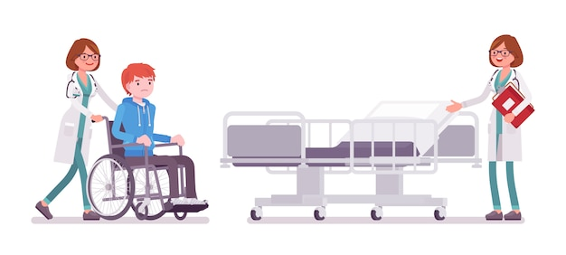 Female doctor and hospitalized patient Premium Vector