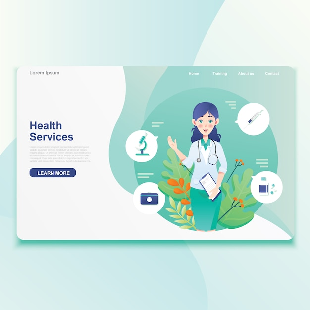 Female doctor offer health services icon Premium Vector