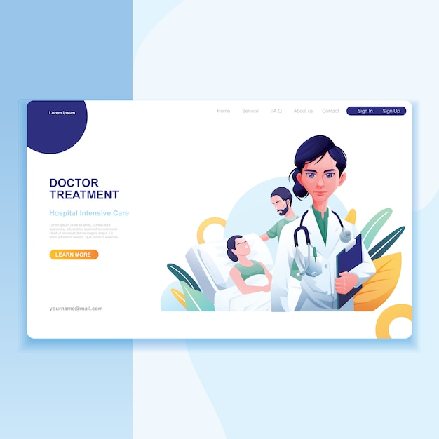 Female doctor patient and nurse as background Premium Vector