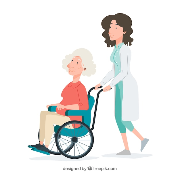Female doctor pushing elderly woman in wheelchair Free Vector
