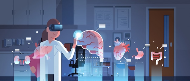 Женщина-врач в цифровых очках смотрит на органы виртуальной реальности Premium векторы