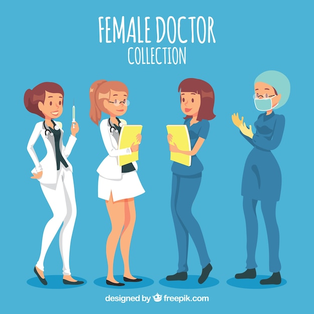 Female doctors with folders, mask and vaccine Free Vector