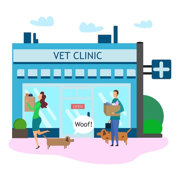 獣医クリニックの外でペット用品を持つ雌犬の所有者 Premiumベクター