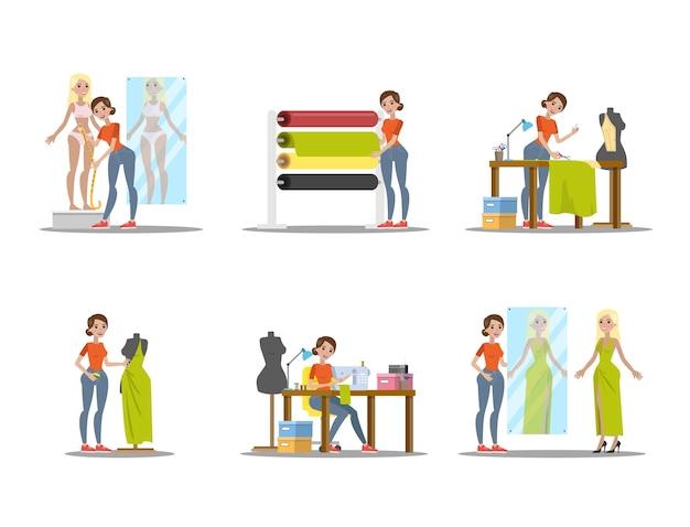 女性の洋裁セット。緑のドレスを若い女性に仕立てます。ミシンでの作業。図 Premiumベクター