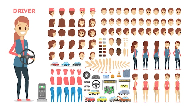 Female driver character set for the animation with various views