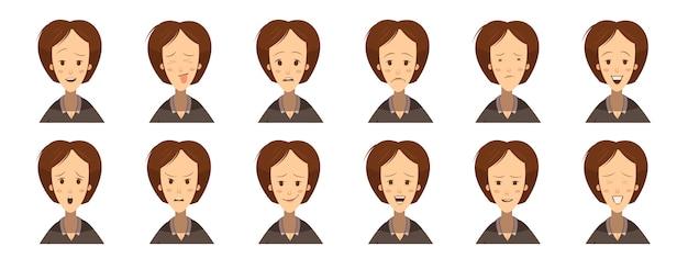 Female emotions avatars set cartoon style Free Vector