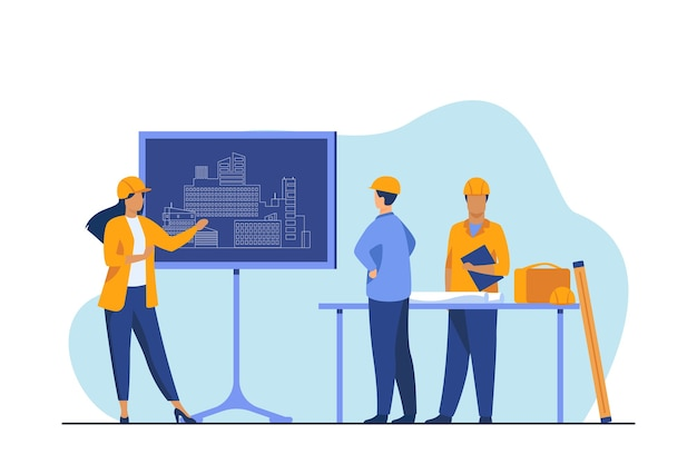 Female engineer standing near chalkboard explaining project. draft, building, worker flat vector illustration. construction and architecture Free Vector