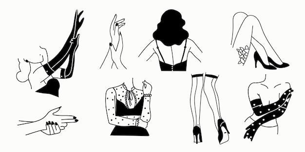 Female erotic silhouettes on a white Premium Vector