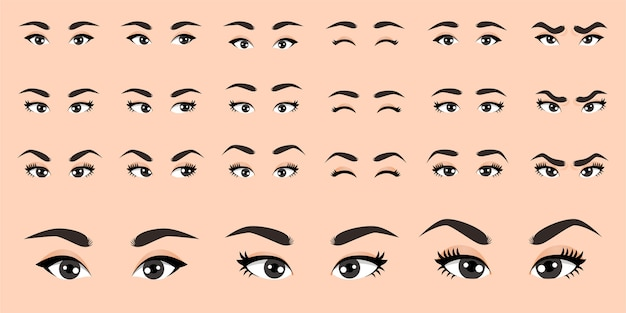 Female eyes collection  illustration Premium Vector