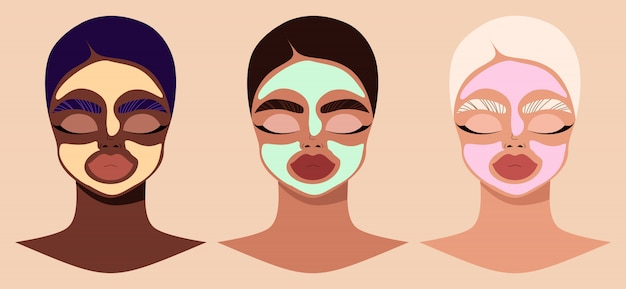 Female faces and beauty cosmetic masks. women wearing cosmetic masks. modern hand-drawn  illustration of female characters applying facial clay masks. beauty and skin care product concept. Premium Vector