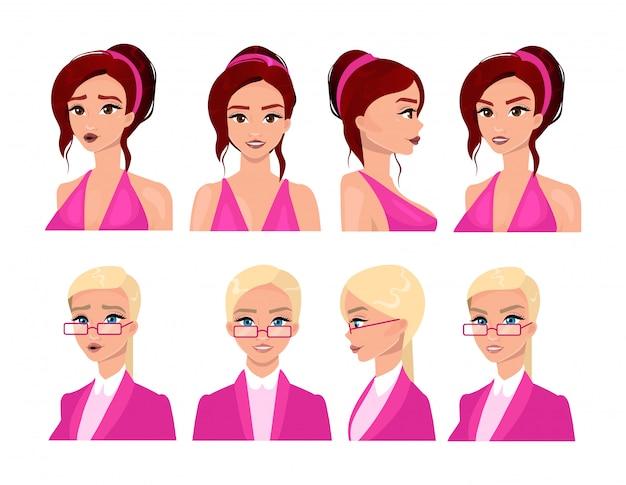 Female faces flat vector illustrations set Premium Vector